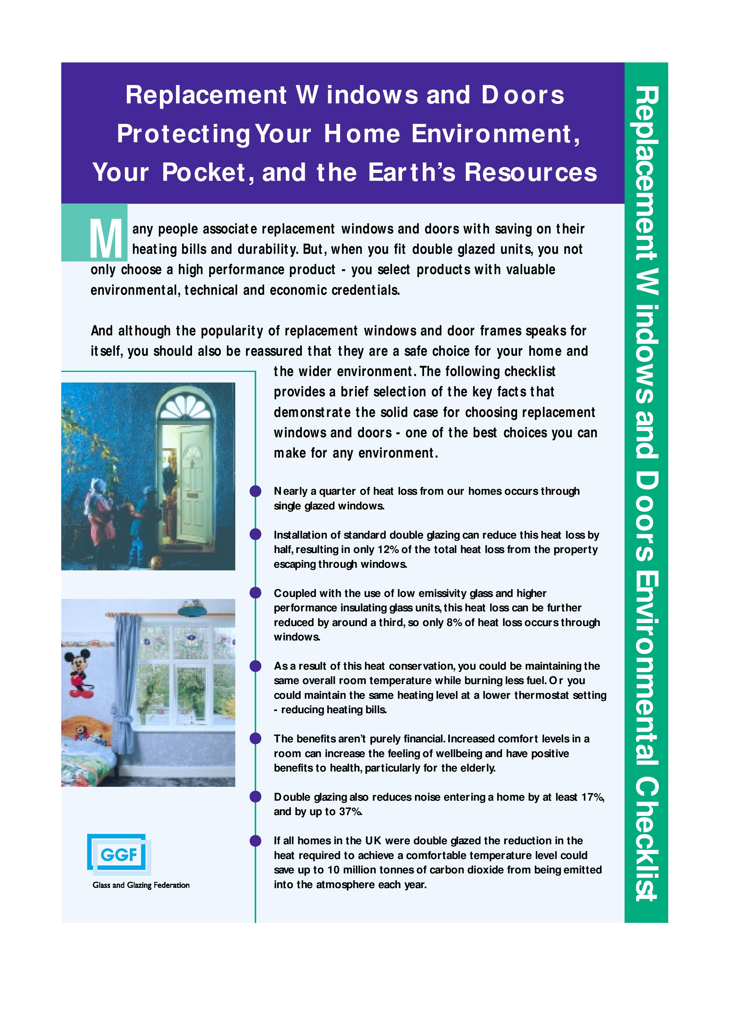Replacement Windows And Doors Environmental Checklist Glass And