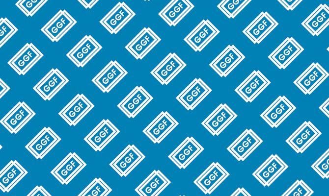 GGF logo wallpaper - white logo blue bg
