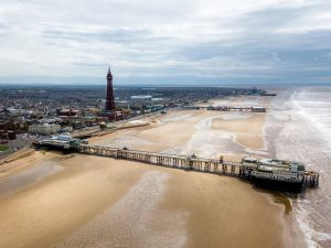 Aerial view along the Blackpool beach