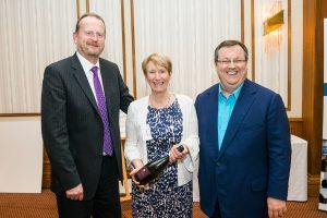 GGF President John Agnew, Irene Smith of REHAU - winner of the GGF Quiz, MC and keynote speaker Declan Curry